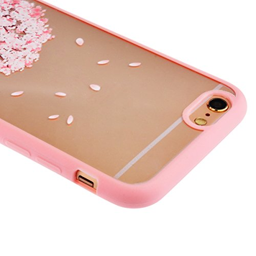 SMARTLEGEND TPU Weich Bumper + Transparent Hart Acryl Candy Case für iphone 5 5s Hülle Rosa Blume Muster Rückseite Schutzhülle Soft Silikon Rahmen Handy Tasche - Blume D I