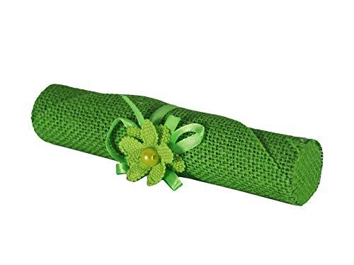 takestop® Set 6 Stück Bonbonniere Pergamena Jute grün Blumen Einladungshalter Gastgeschenk Konfekt Geburt Geburt Geburtstagsgeschenk