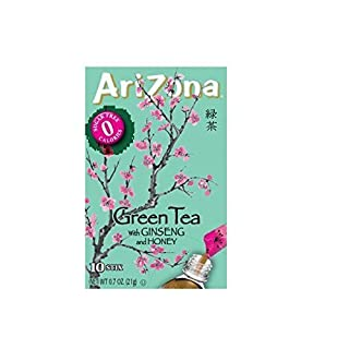 Arizona Sugar Free Iced Green Tea with Ginseng 10 sticks, Low Calorie, Diabetic, Low Carb
