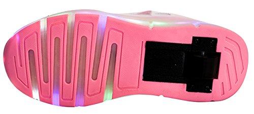 ECOTISH 7 Farbe USB Aufladen LED Leuchtend Sport Schuhe Sneaker Schuhe Mit Rollen Skateboard Led Leuchtet Sohle Leuchtend Sport Turnschuhe für Unisex-Kinder Junge Mädchen Rosa