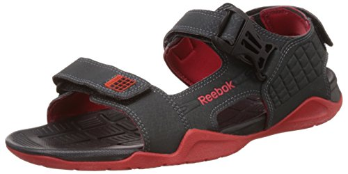 Reebok Men's Adventure Z Supreme Gravel, Black and Red Sandals and Floaters - 6 UK/India (39 EU) (7 US)