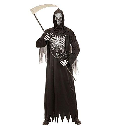 Karneval Klamotten Sensenmann Kostüm Skelett für Kinder Der Tod MIT Sense Halloween Kinder-Kostüm Größe (Kinder Kostüm Sensenmann)