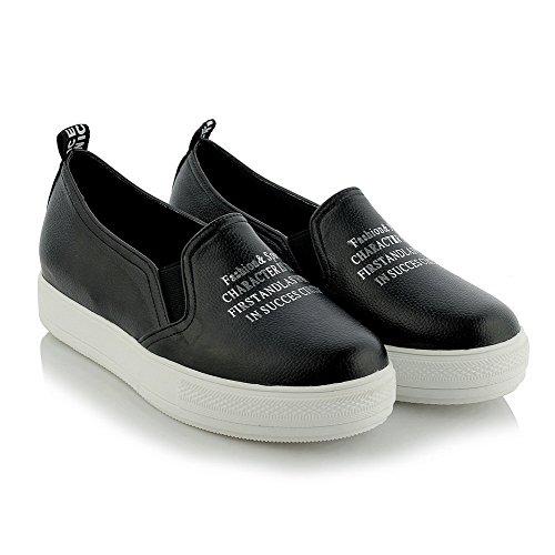 AllhqFashion Damen Ziehen Auf Pu Niedriger Absatz Gemischte Farbe Pumps Schuhe Schwarz