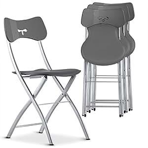 lot de 4 chaises pliantes wendy gris cuisine maison. Black Bedroom Furniture Sets. Home Design Ideas