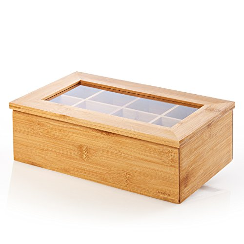 Lumaland cuisine scatola per tee e infusi in bamboo 8 scomparti ca. 28 x 16 x 9 cm