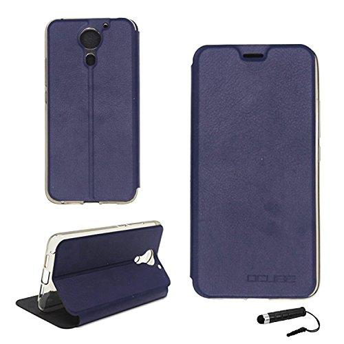 Tasche für UMIDIGI plus / UMIDIGI Plus E Hülle, Ycloud PU Ledertasche Metal Smartphone Flip Cover Case Handyhülle mit Stand Function Marineblau