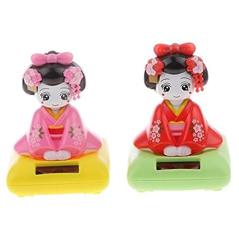 MagiDeal Solar Power Bobblehead Toy Figure Nohohon Japanese Kimono Maiko Geisha #B