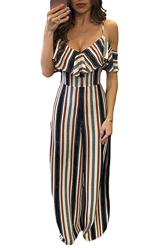 Happy Sailed Ladies Vertical Stripes Print Cold Shoulder Spaghetti Straps Ruffle Jumpsuit Wide Leg Playsuit Medium