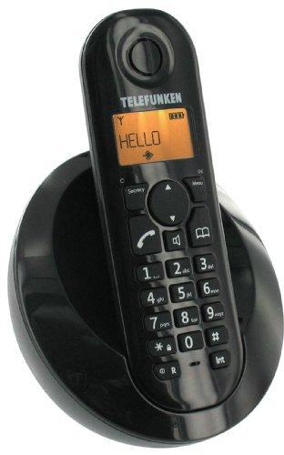 Telefunken Peps 201 Schnurloses, strahlungsarmes DECT-Telefon mit ergonomischen Design schwarz