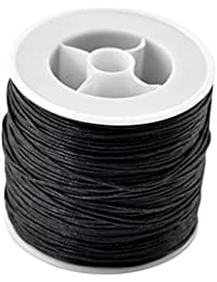 HOUSWEETY 1 Rouleau(80M) Cordon Cire Noir pour Bracelet / Collier 0.5mm