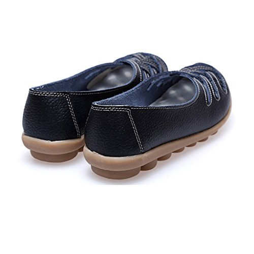 Oriskey Mocassins Femme Cuir Loafers Casual Bateau Chaussures de Ville Flats Noir