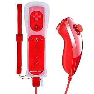 Jevogh Motion Plus Wii Controller und Nunchuck Wireless Nintendo Wii Fernbedienung Gamepad und Nunchuk Joystick für Nintendo Wii/Wii U GR17 – Rot (Dritteranbieter Produkt)