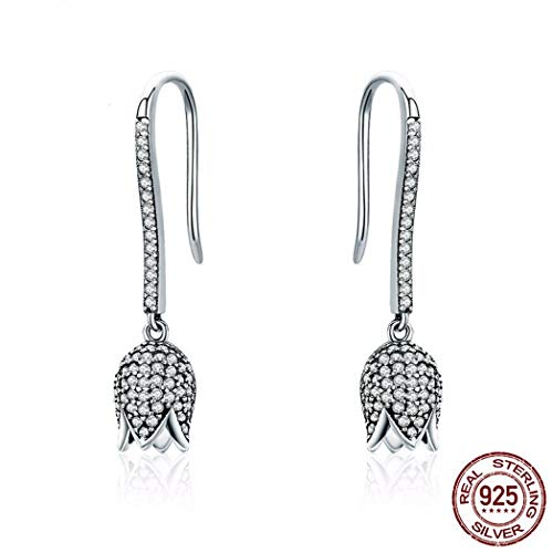 MTWTM Sterling Silber Bolzen Diamond Damen Ohrringe Fashion Tulip Lange Ohr Ohrringe Ohrhänger Schmuck Digitale Tulip
