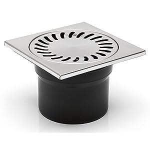 Desagüe para suelo de baño o ducha, 150x 150mm DNS 110N en acero inoxidable (323N)