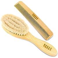 L'ensemble de soin pour bébé se compose d'une brosse et d'un peigne   Avec une brosse à cheveux naturelle faite en cheveux de chèvre   Fabriqué en Allemagne   Idéal comme cadeau
