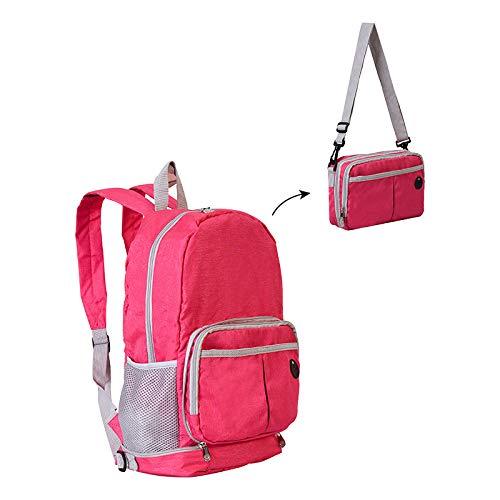 Rucksack Rucksack Dual-Use-Rucksack Wasserdichter Faltrucksack Multifunktionsrucksack Studententasche Umhängetasche Rose Rot -