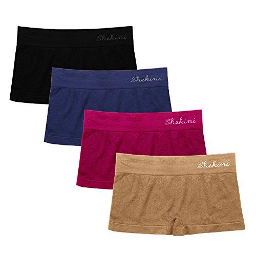 SHEKINI Mutandine Culotte Pantaloncino Confortevoli da Donna Mutande Sportive Shorts Intimo Pacco da 4