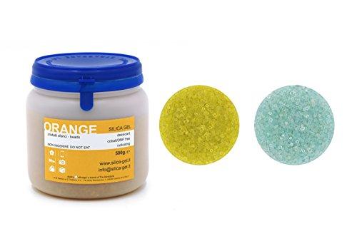 Silikagel/ Kieselgel, mit Indikator, versiegelte Dose à 500g, DMF- und kobaltfrei, Orange