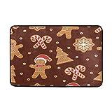 best bags Felpudos Antideslizantes Lavables para Puerta, diseño navideño con Texto en inglés Gingerbread Man Cookies Indoor Outdoor Entrance Felpudo, Alfombrillas de baño, 60 x 40 cm