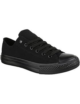Elara Unisex Sneaker   Bequeme Sportschuhe für Damen und Herren   Low Top Turnschuh Textil Schuhe 36-46