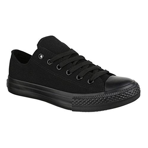 Elara Unisex Sneaker | Bequeme Sportschuhe für Herren und Damen | Low Top Turnschuh Textil Schuhe 36-46 ZY9032-Black-38 (Schwarze Turnschuhe)