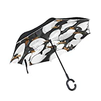 COOSUN Penguins Pattern Double Layer Inverted Umbrella Reverse Umbrella for Car and Outdoor Use Rain Windproof Waterproof UV Protection Big Straight Umbrella With C-Shaped Handle