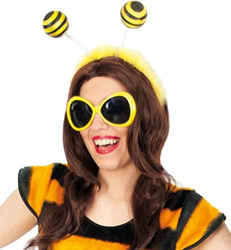 KarnevalsTeufel Zubehör-Set Biene, 2-TLG Haarreif mit Fühler und Brille, gelb, schwarz, Tierkostüm, Käfer, Insekt, Karneval, Fasching, Mottoparty