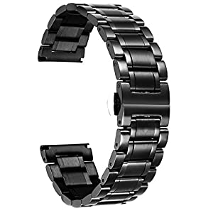 Edelstahl Uhrenarmband,Metallarmband für Herren/Damen mit Geraden und gebogenen Ende (Gold,Silber,Schwarz,Roségold,Zwei Ton) – 12mm,14mm,16mm,18mm,19mm,20mm,21mm,22mm,24mm