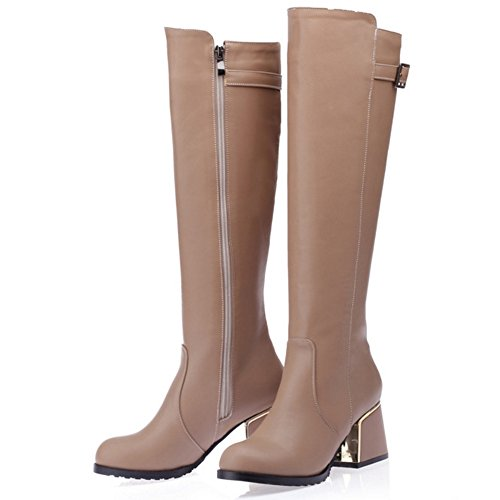 TAOFFEN Damen Mode-Event der britischen Art Blockabsatz Schuhe Schnalle kniehohe Stiefel Winter Kamel
