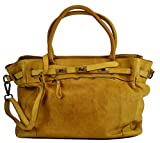 BZNA Bag Mila Gelb giallo vintage Italy Designer Business Damen Handtasche Ledertasche Schultertasche Tasche Leder Shopper Neu