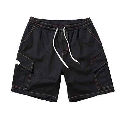 Herren Leinenshorts Leinen Baumwolle Shorts Männer Sommer Solid Cargo Shorts Casual Elastische Taille Klassische Passform Hosen mit Kordel Große GrößenSportswear M-5XL -