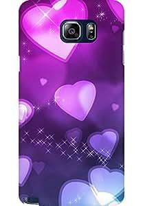 AMEZ designer printed 3d premium high quality back case cover for Samsung Galaxy Note 5 (romantic hearts purple shine)