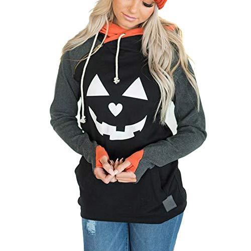rm Halloween Kostüm Karnevalskostüme Karneval Fasching Hexe Print Hoodie Kürbis Druck Sweatshirt Bluse Tops Zeichen Pullover Sweatshirt Kostüm Set Party Wear Unisex mit Hut ()