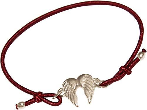 GEMSHINE Damen oder Mädchen Armband mit doppeltem Engel Flügel. Silber, vergoldet oder rose am roten Band. Nachhaltiger, qualitätsvoller Schmuck Made in Deutschland, Metall Farbe:Silber