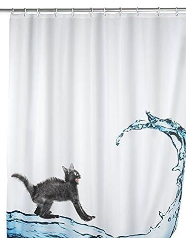 WENKO 20052100 Anti-Schimmel Duschvorhang Cat - Anti-Bakteriell, waschbar, mit 12 Duschvorhangringen, 100 % Polyester,