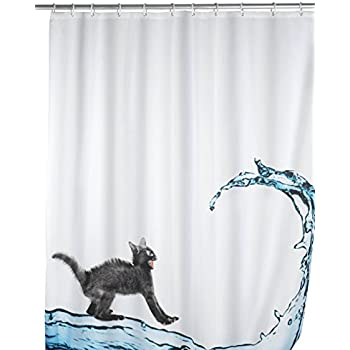 Wenko 20052100 rideau de douche en textile cat anti moisissure dimensions 180x200 cm - Moisissure noire douche ...