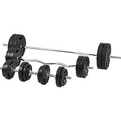 GORILLA SPORTS® Hantel-Set 100 kg Kunststoff Gripper mit Langhantelstange, Kurzhanteln, Curlstange, Gewichten und Sternverschlüssen