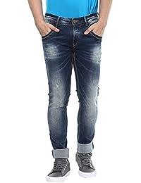 Spykar Mens Mid Blue Super Skinny Fit Low Rise Jeans (Actif) (30)