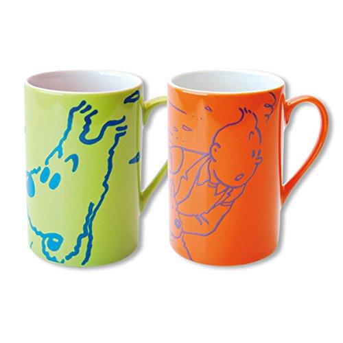 Set de deux tasses mugs porcelaine Tintin et Milou Orange / Vert 47962 (2014)