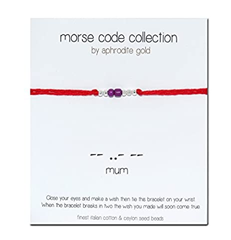 Red String Wrap Bracelet Morse Code Mum Bracelet Lucky Protection