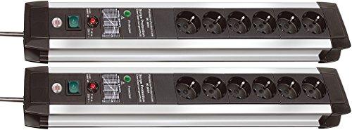 2 Stück Premium-Protect-Line 60.000A Überspannungsschutz-Steckdosenleiste 6-fach 3m H05VV-F 3G1,5
