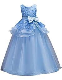 Vestido de encaje princesa Vestido de niña, Maxi Bubble Vestidos de tul con cinturón de