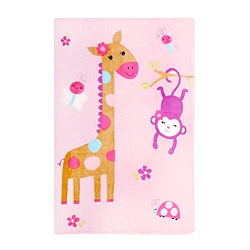 Delindo Lifestyle® Couvre-lit Couverture SWEET ANIMALS pour bébé / rose / plaid doux / 75x100 cm / pour fille
