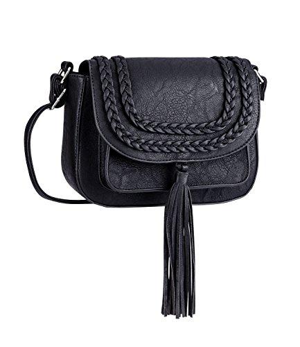 SIX Cross-Body Sattel Tasche: Schwarze Umhängetasche mit Flechtdetails, Verstellbarer Schulterriemen, magnetischer Verschluss, Quasten-Anhän (726-473)