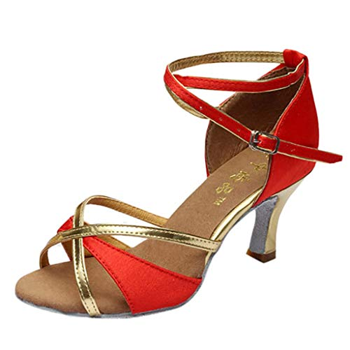FeiBeauty Mode Mädchen Latin Dance Schuhe Med-Heels Satin Schuhe Party Tango Salsa Dance Tanzschuhe
