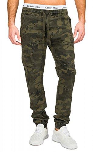 Herren Jeans (Slim Fit) Freizeit Stoff Hose im Military Print Camouflage Muster (tarnfarben) aus Stretch-Material H1681,Grün,XL (Jeans-print-stoff)