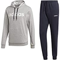 adidas Hooded Tracksuit Cotton, Tuta Uomo, Medium Grey Heather/Legend Ink/Bianco, XL