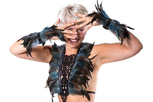 Dom Und Sub Kostüm - SiaLinda: Harness /2 Federarmbänder/Set, Zaha Blau