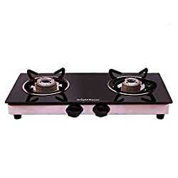 Kitchen Essentials BrightFlame 2 Burner Black Gas Stove Compact