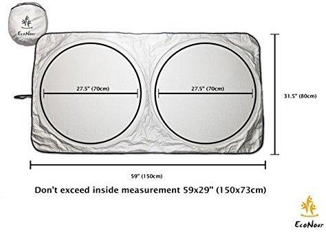 EcoNour Auto-Windschutzscheibe Sun Shade - Blöcke UV Strahlen Sun Visor Protector Standard 59 x 31 Zoll